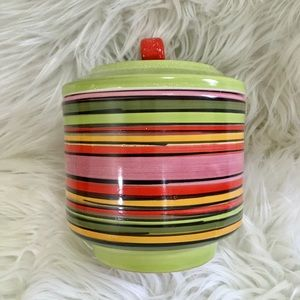 Vtg 60's 70's rainbow stripe lidded ceramic jar